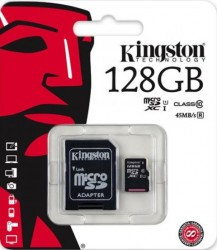 MicroSDXC Card 128GB Kingston Class 10 adaptor